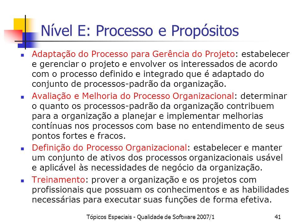 Nível E: Processo e Propósitos