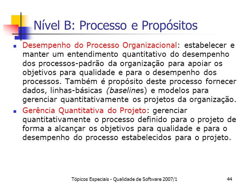 Nível B: Processo e Propósitos