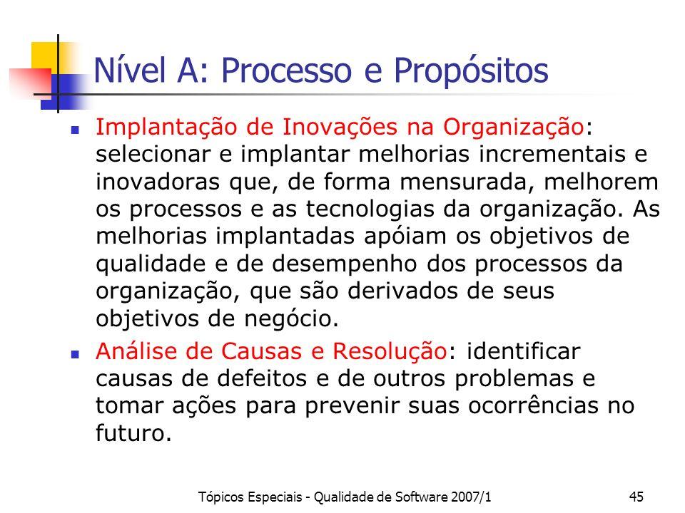 Nível A: Processo e Propósitos