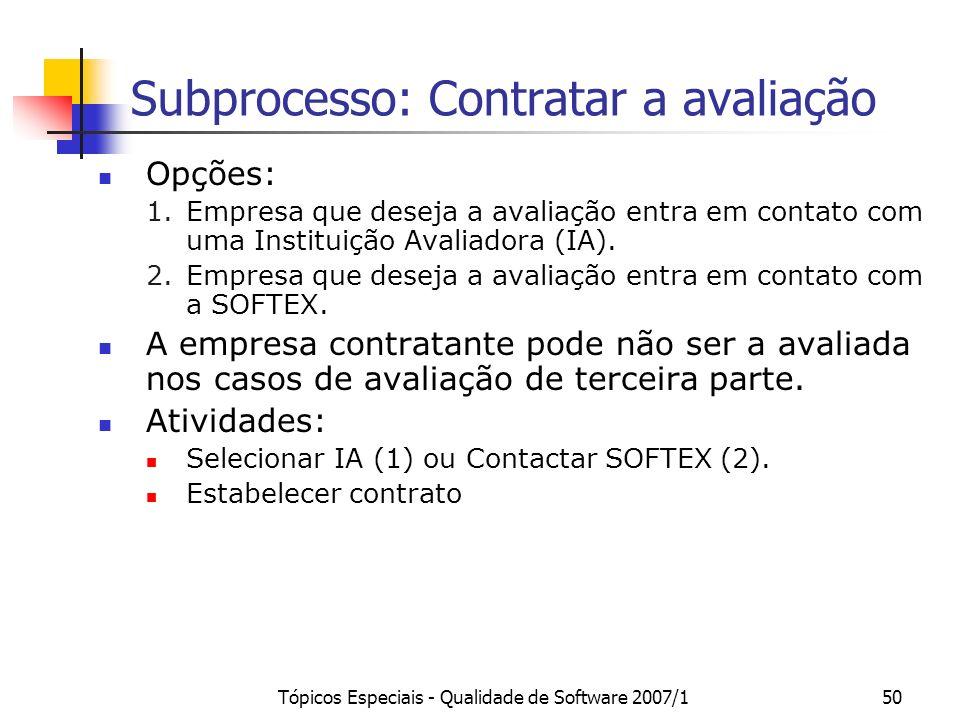 Subprocesso: Contratar a avaliação