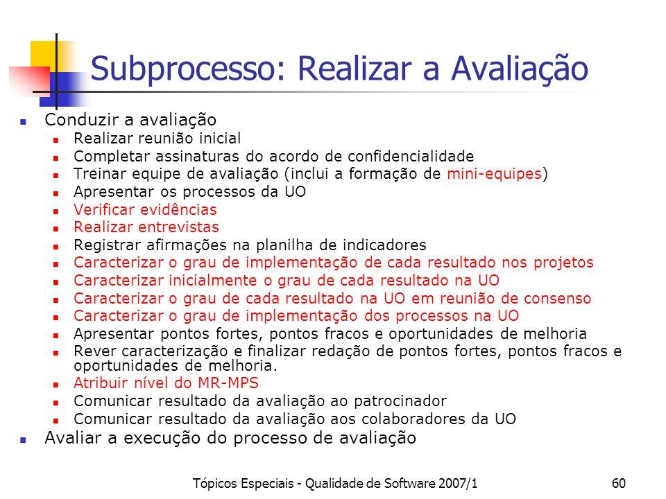 Subprocesso: Realizar a Avaliação