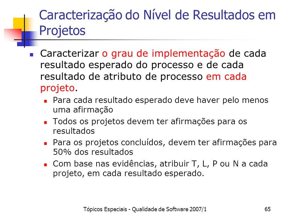 Caracterização do Nível de Resultados em Projetos