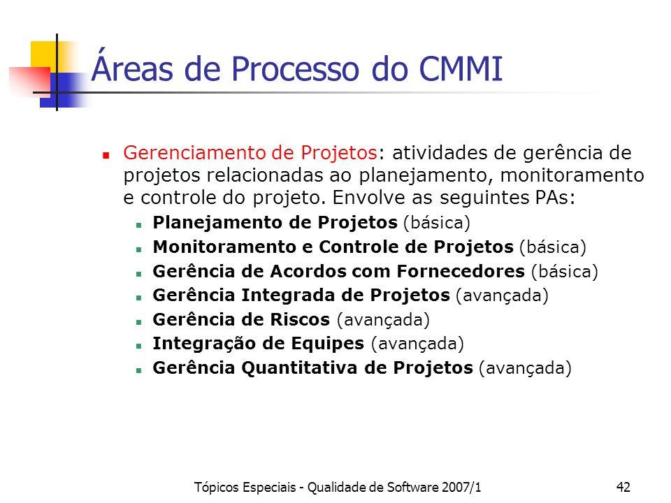 Áreas de Processo do CMMI