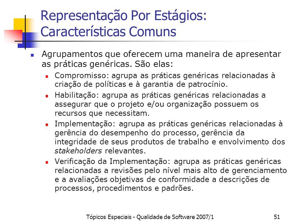 Representação Por Estágios: Características Comuns