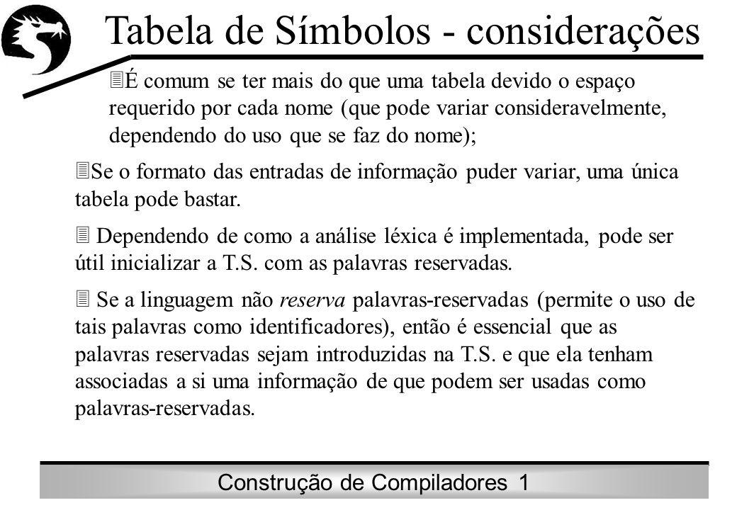 Tabela de Símbolos - considerações