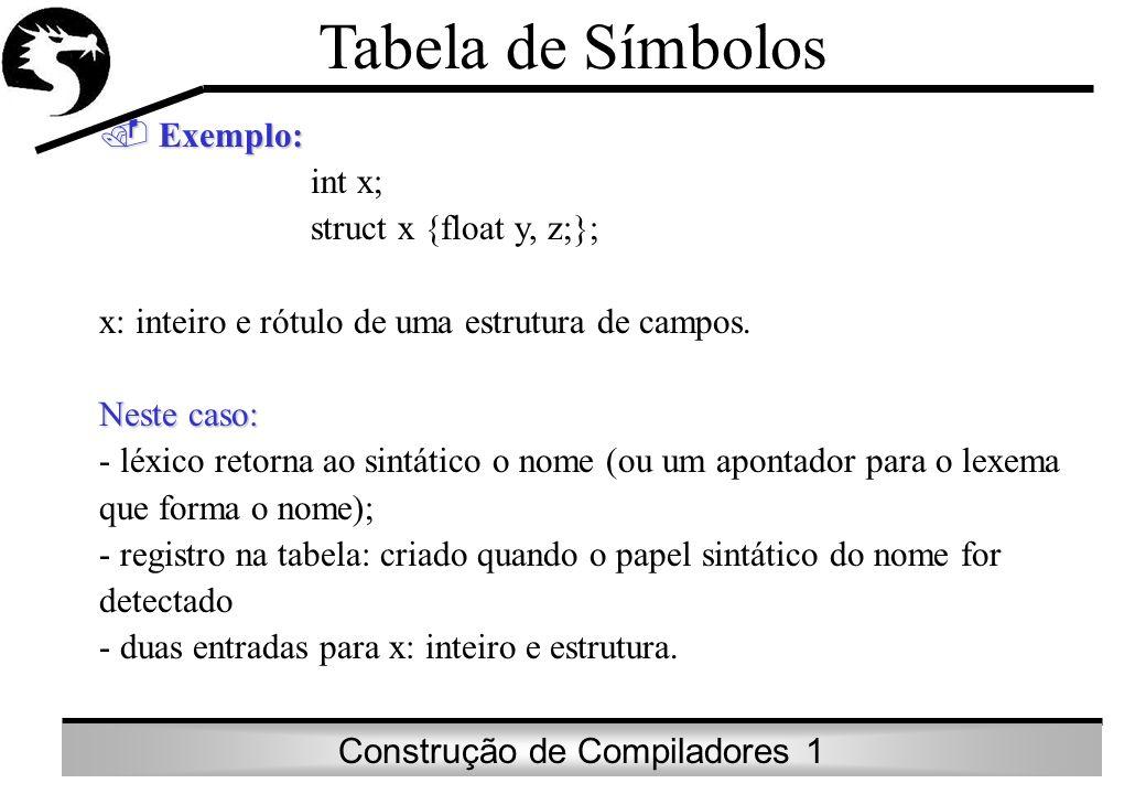 Tabela de Símbolos Exemplo: int x; struct x {float y, z;};
