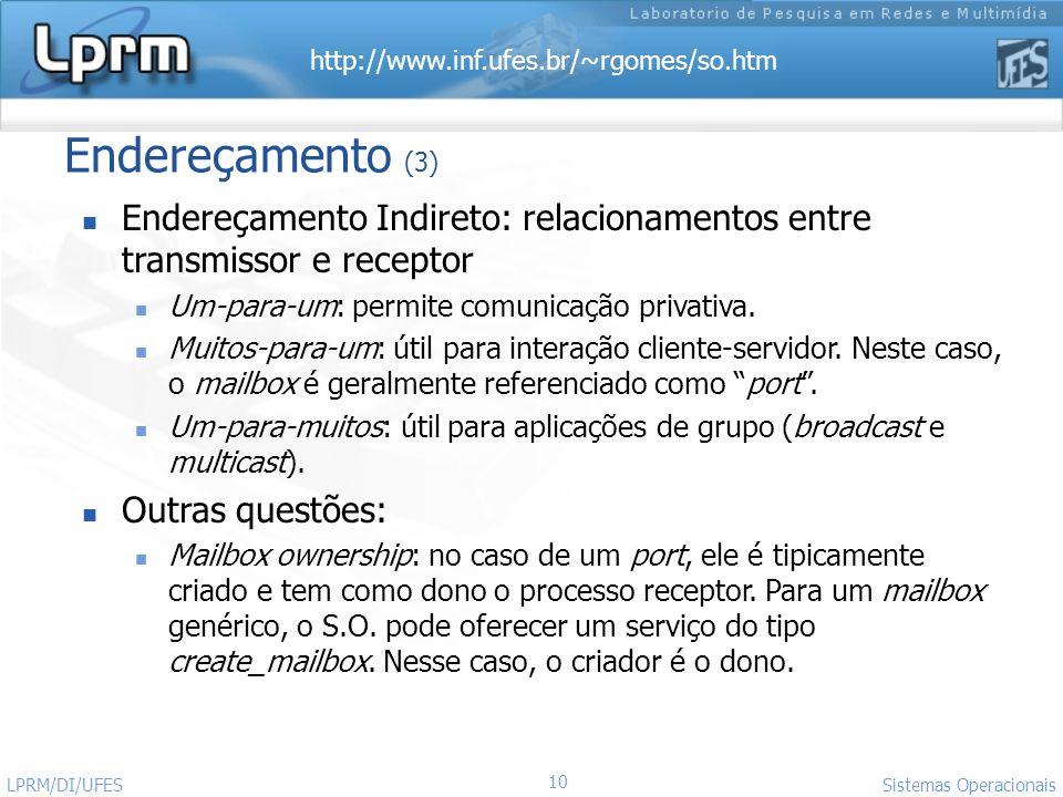 Endereçamento (3) Endereçamento Indireto: relacionamentos entre transmissor e receptor. Um-para-um: permite comunicação privativa.