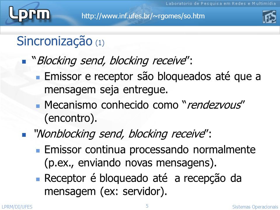 Sincronização (1) Blocking send, blocking receive :