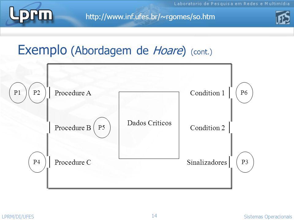 Exemplo (Abordagem de Hoare) (cont.)