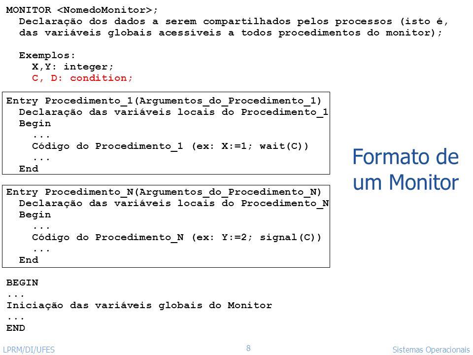 Formato de um Monitor MONITOR <NomedoMonitor>;