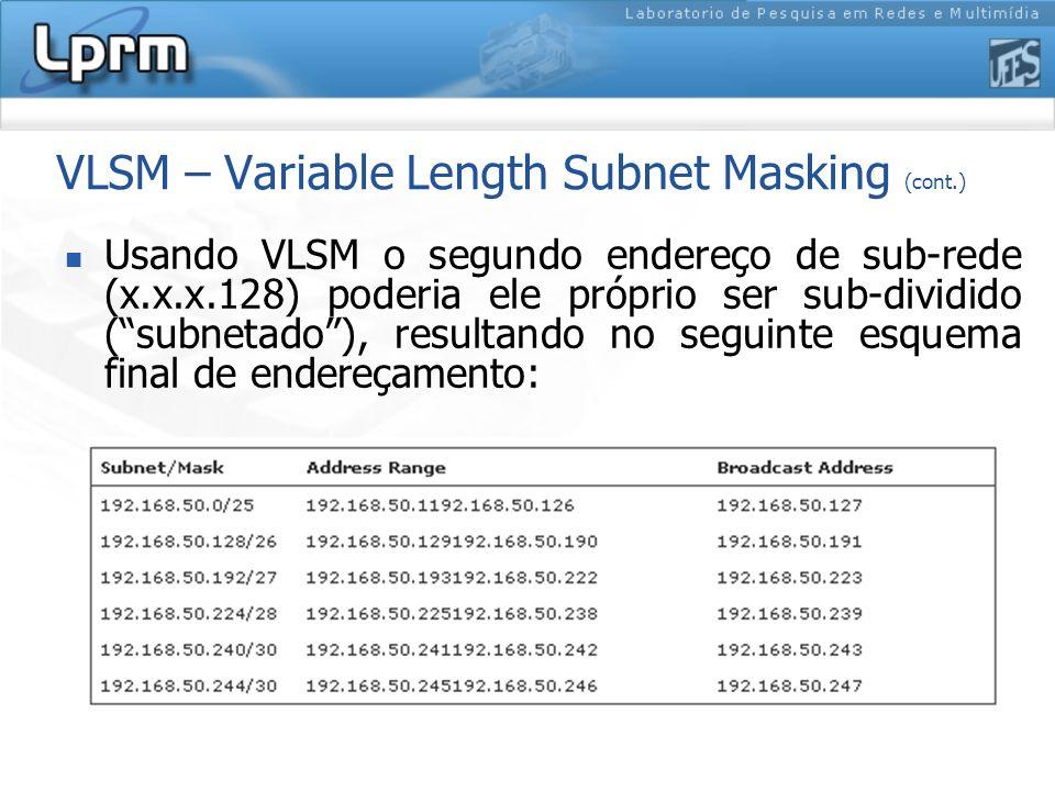 VLSM – Variable Length Subnet Masking (cont.)
