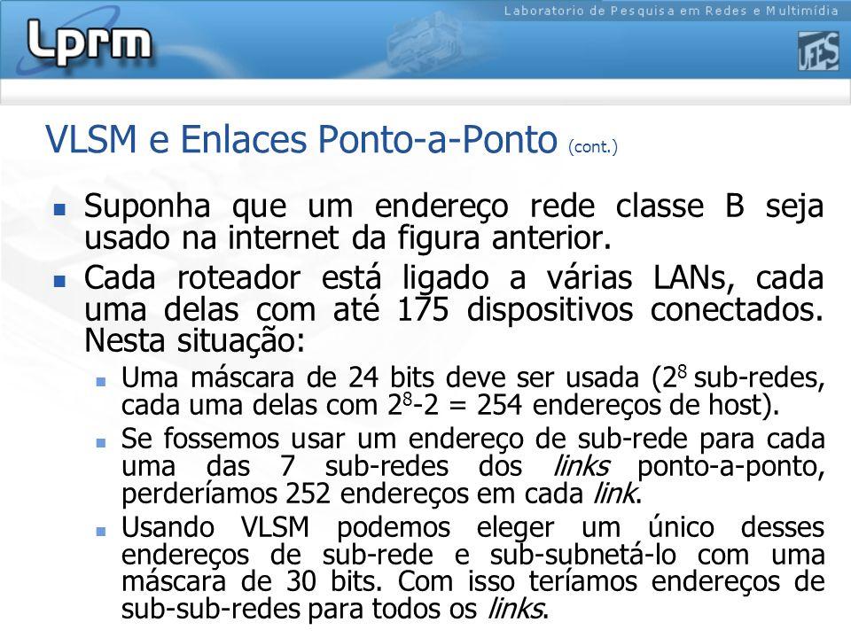 VLSM e Enlaces Ponto-a-Ponto (cont.)