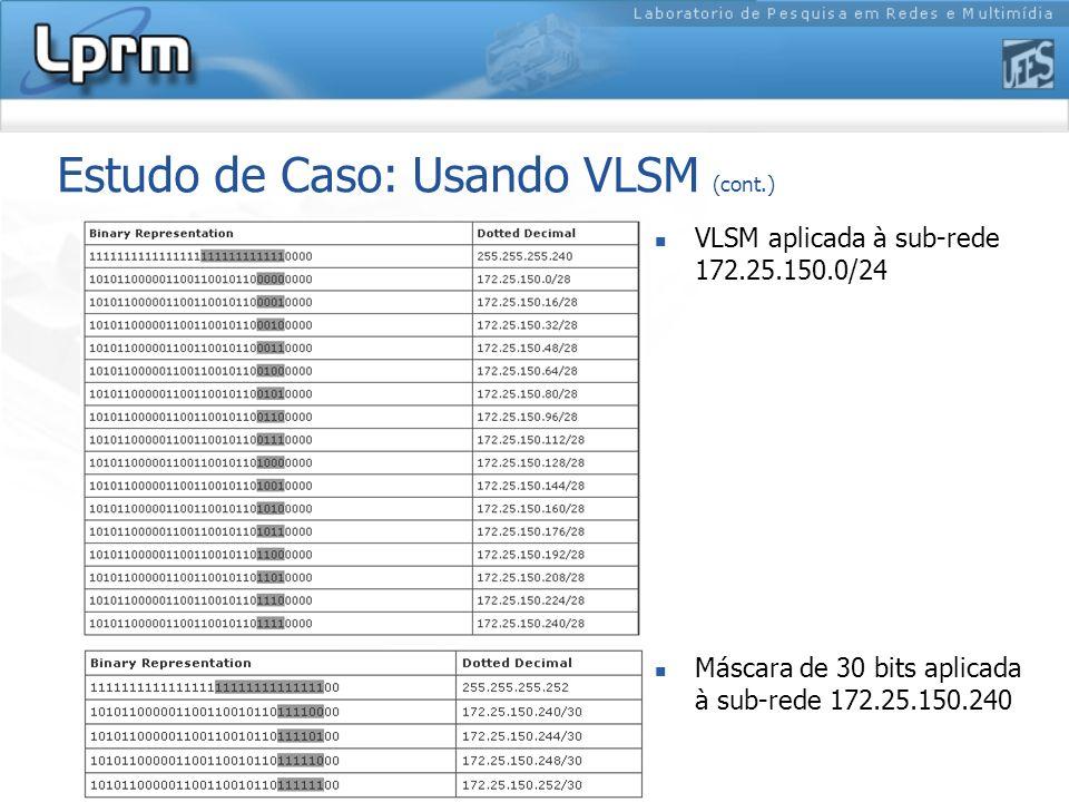 Estudo de Caso: Usando VLSM (cont.)