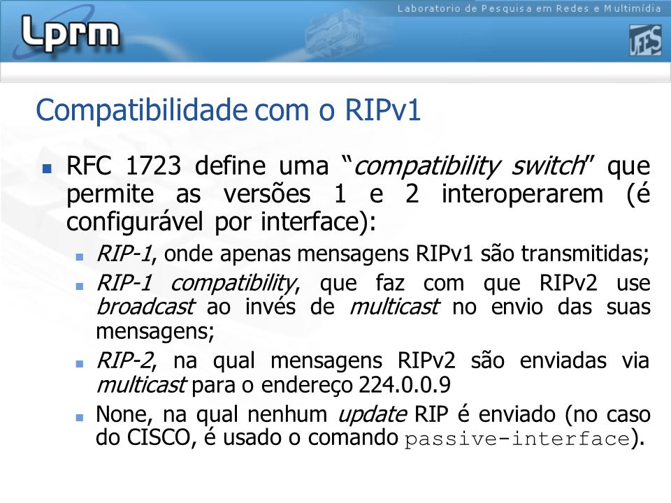 Compatibilidade com o RIPv1