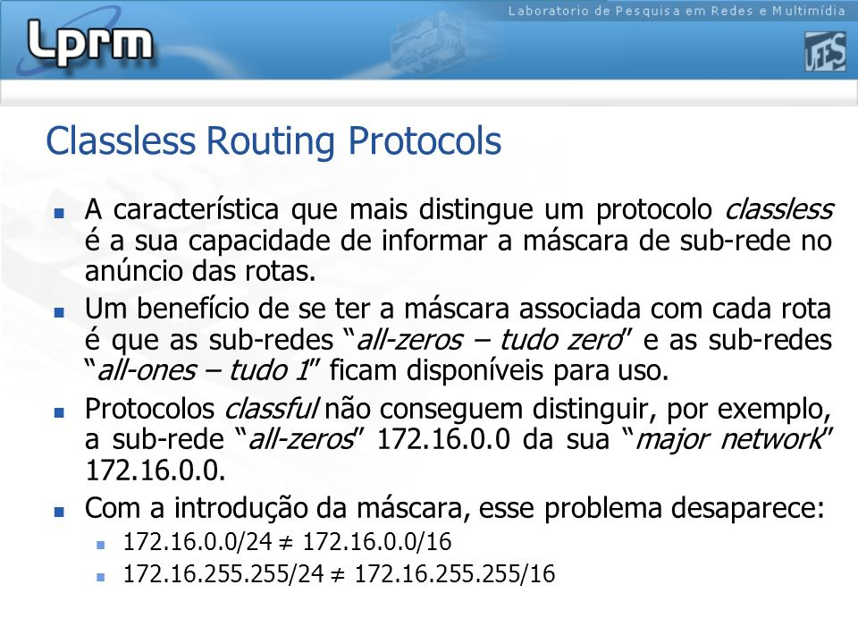 Classless Routing Protocols