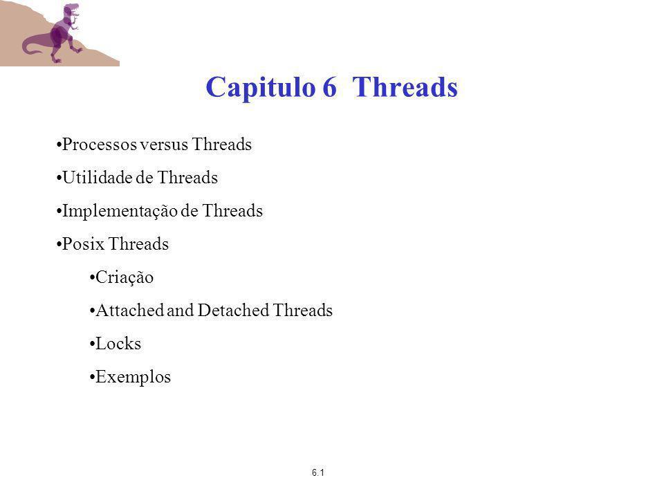 Capitulo 6 Threads Processos versus Threads Utilidade de Threads
