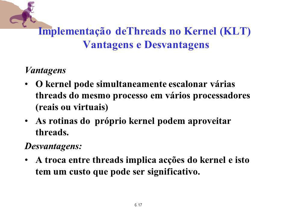 Implementação deThreads no Kernel (KLT) Vantagens e Desvantagens