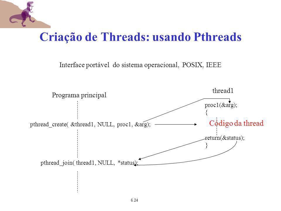 Criação de Threads: usando Pthreads