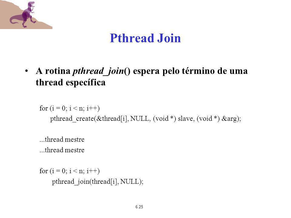 Pthread Join A rotina pthread_join() espera pelo término de uma thread específica. for (i = 0; i < n; i++)