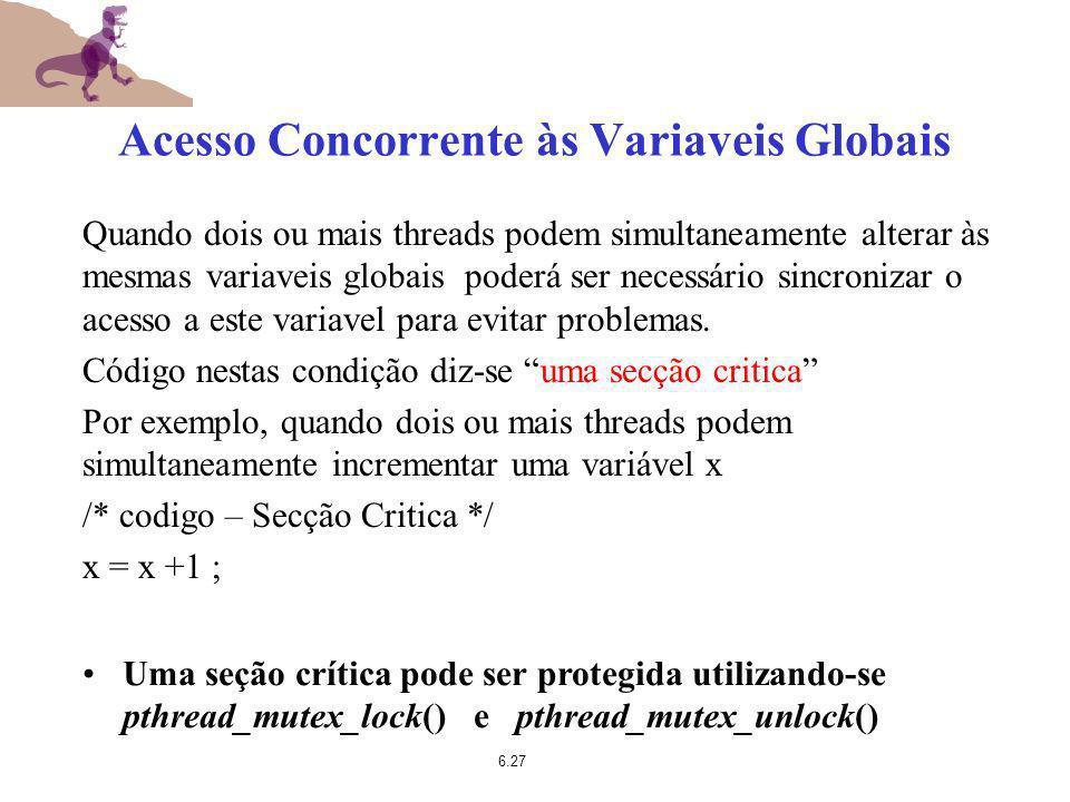 Acesso Concorrente às Variaveis Globais