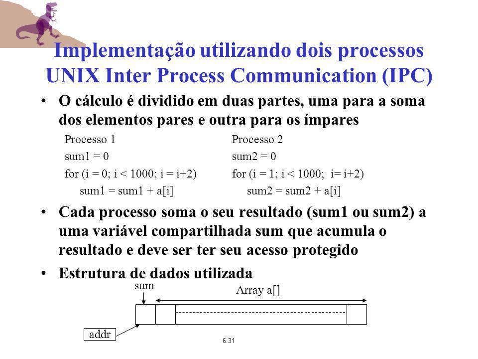 Implementação utilizando dois processos UNIX Inter Process Communication (IPC)