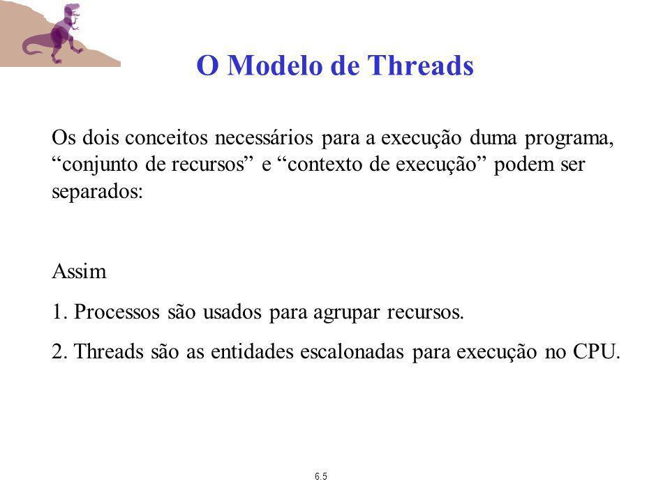 O Modelo de Threads Os dois conceitos necessários para a execução duma programa, conjunto de recursos e contexto de execução podem ser separados: