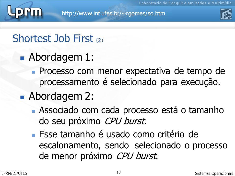 Shortest Job First (2) Abordagem 1: Abordagem 2: