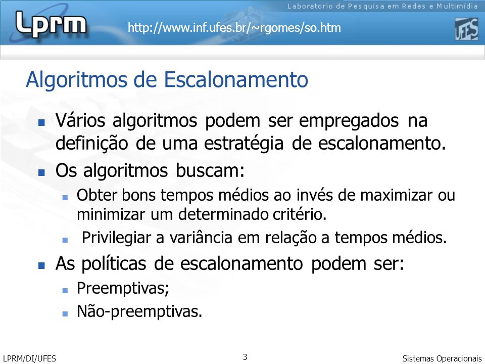 Algoritmos de Escalonamento