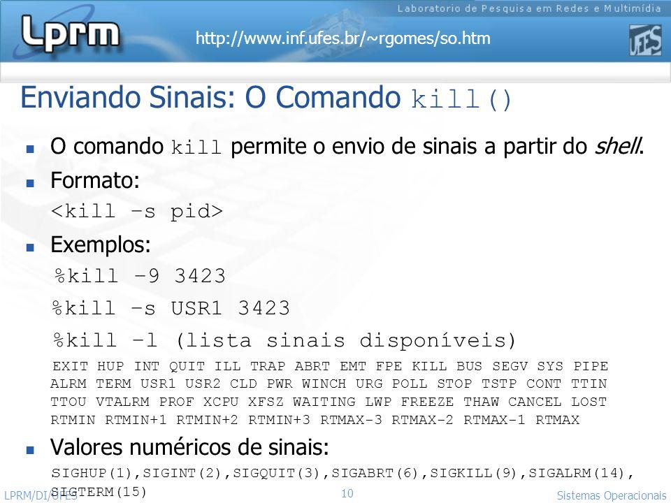 Enviando Sinais: O Comando kill()