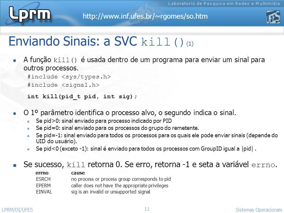 Enviando Sinais: a SVC kill()(1)