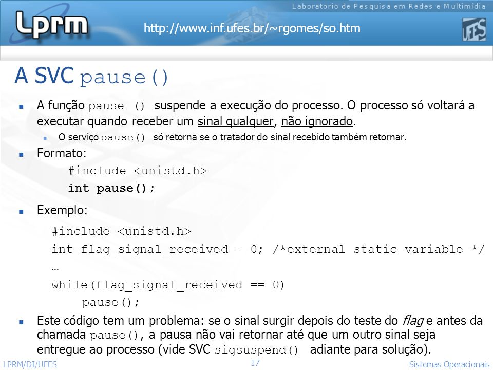 A SVC pause() #include <unistd.h>