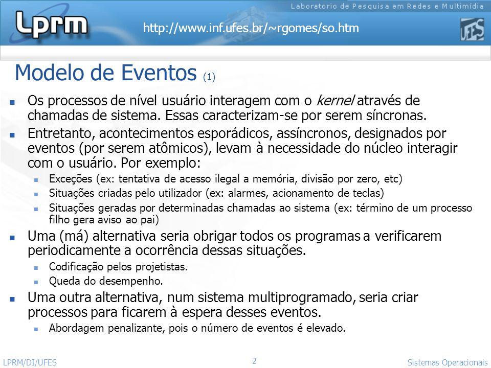 Modelo de Eventos (1) Os processos de nível usuário interagem com o kernel através de chamadas de sistema. Essas caracterizam-se por serem síncronas.