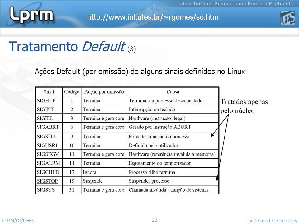 Ações Default (por omissão) de alguns sinais definidos no Linux