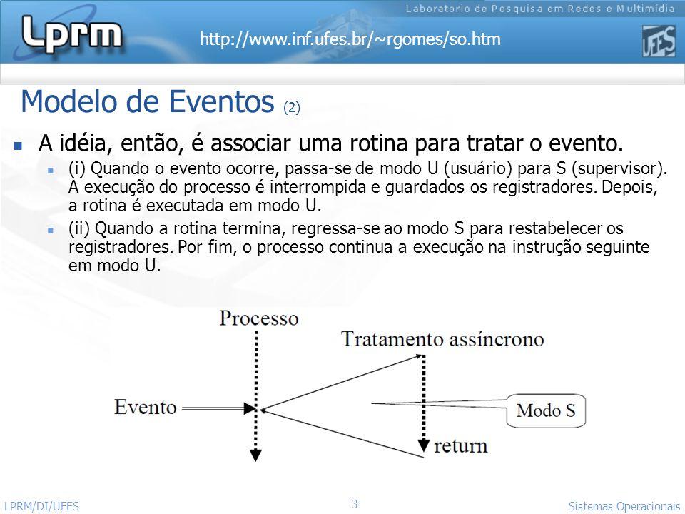 Modelo de Eventos (2) A idéia, então, é associar uma rotina para tratar o evento.