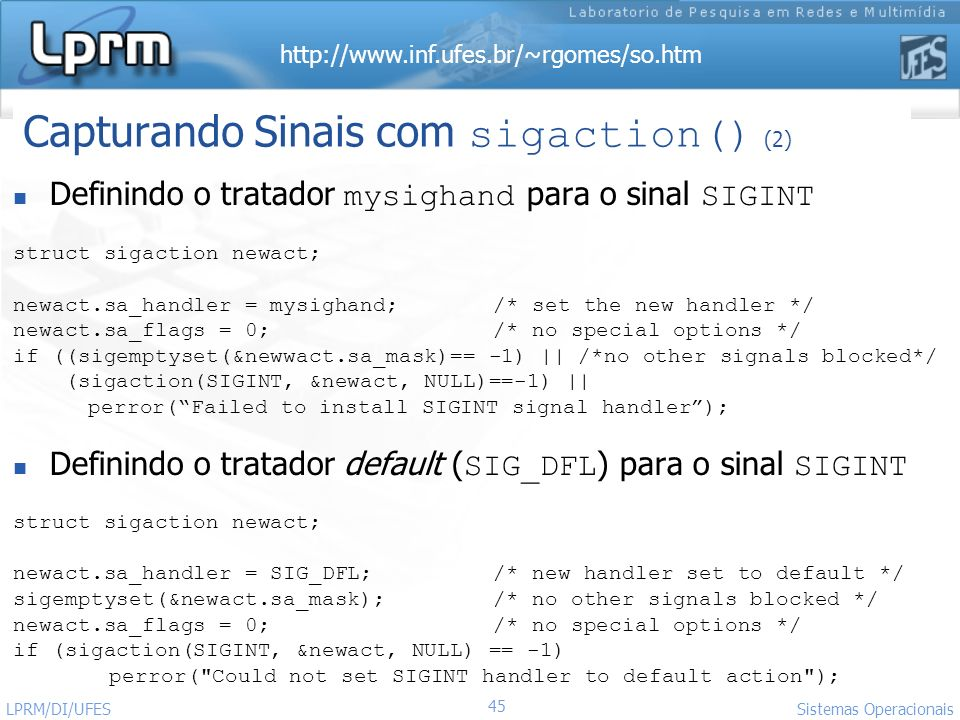 Capturando Sinais com sigaction() (2)