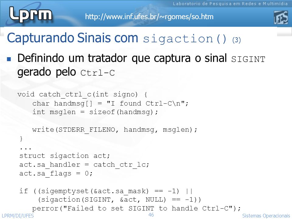 Capturando Sinais com sigaction() (3)