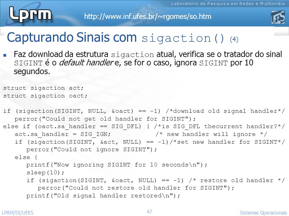 Capturando Sinais com sigaction() (4)