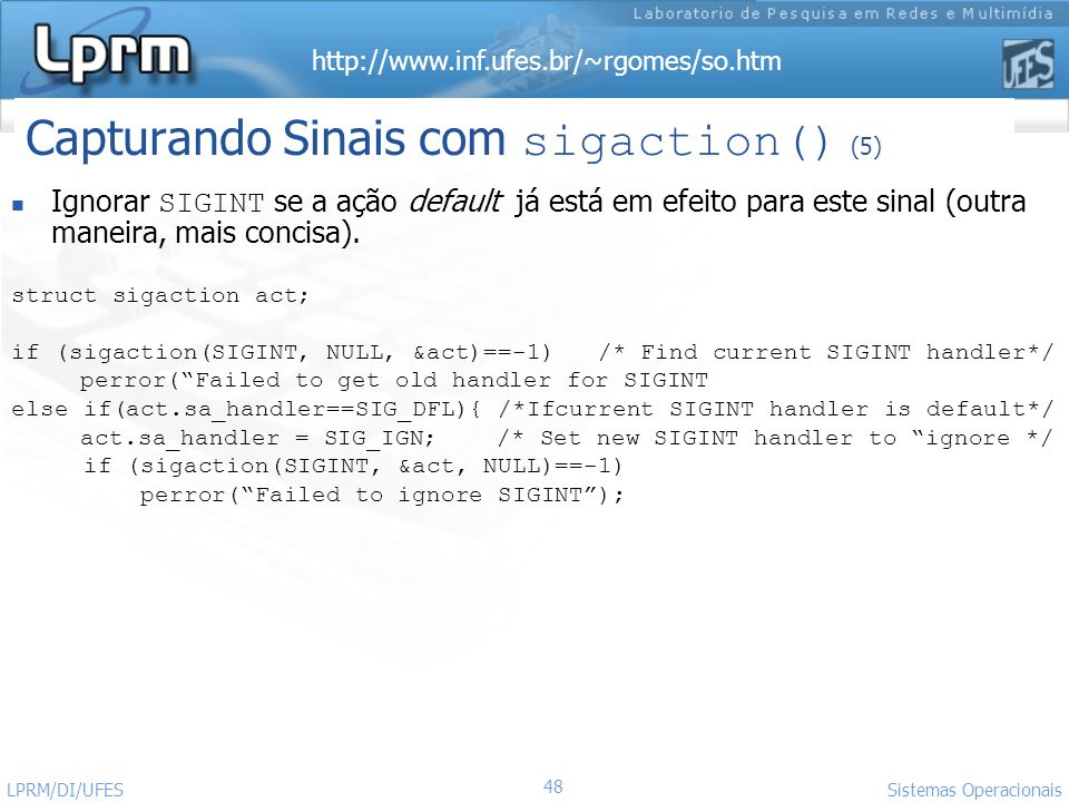 Capturando Sinais com sigaction() (5)
