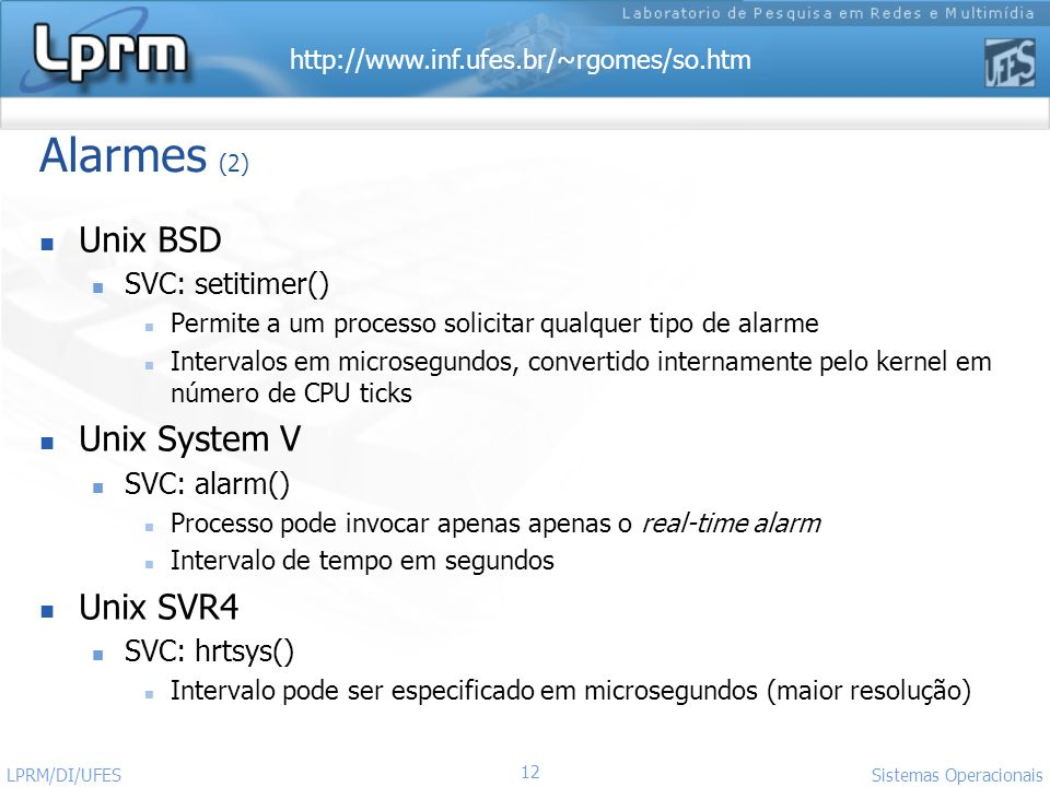 Alarmes (2) Unix BSD Unix System V Unix SVR4 SVC: setitimer()