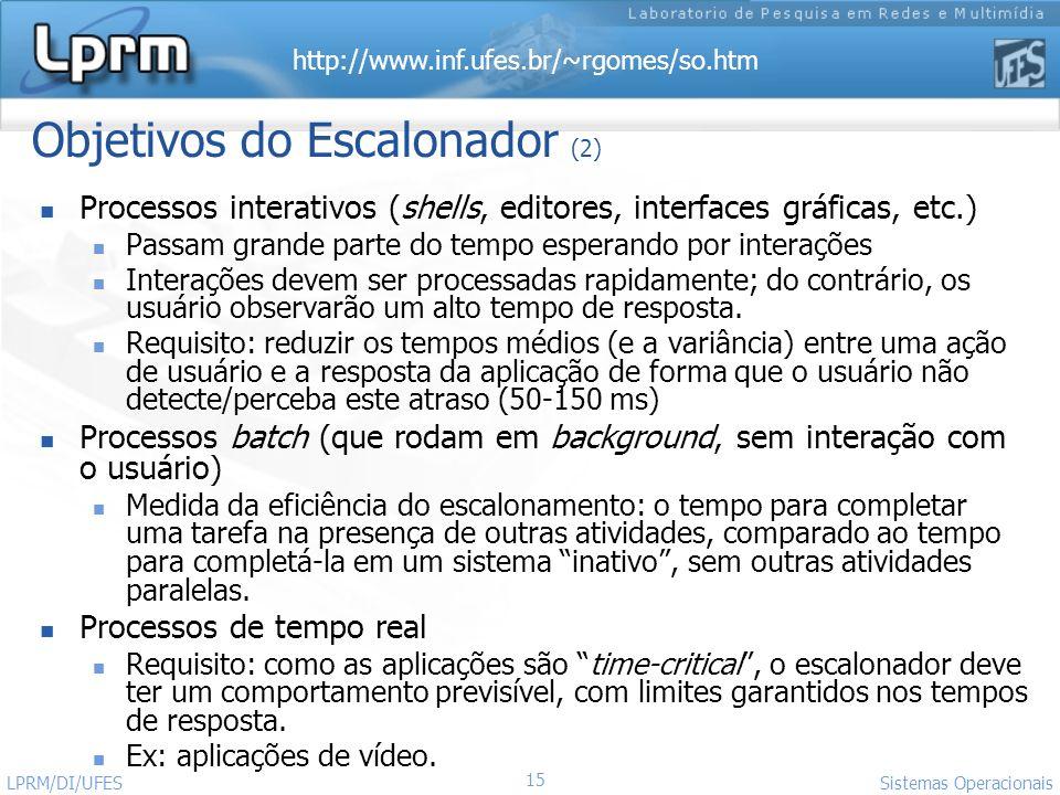 Objetivos do Escalonador (2)