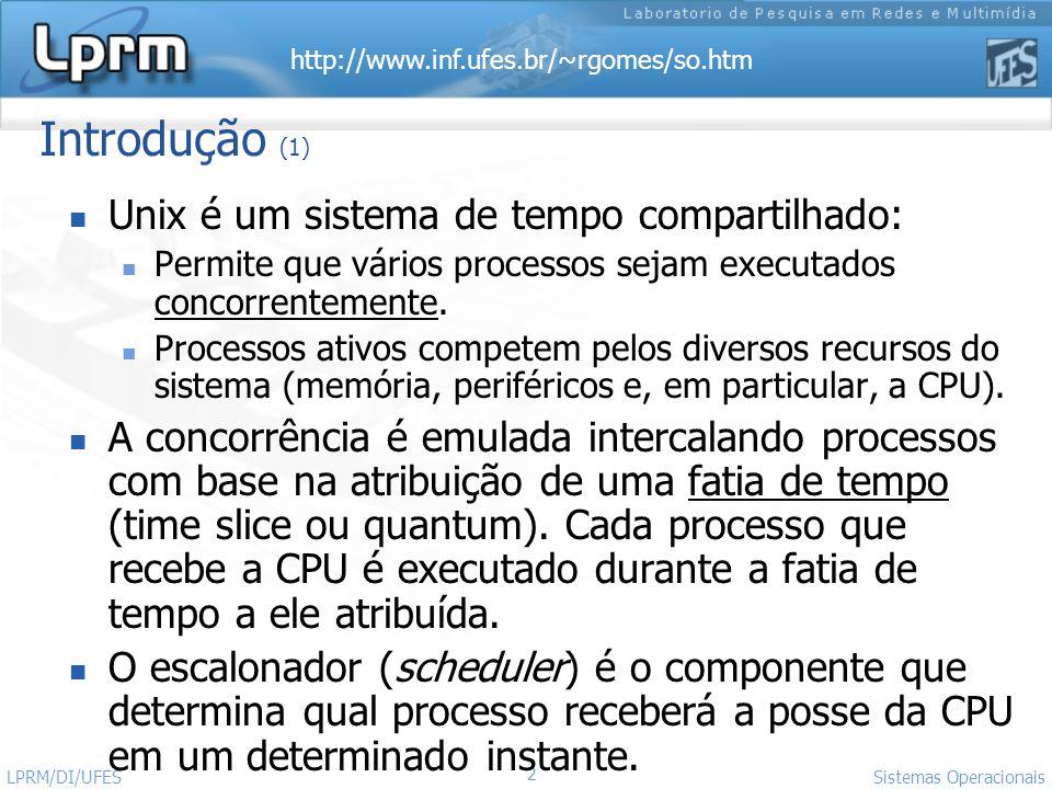 Introdução (1) Unix é um sistema de tempo compartilhado: