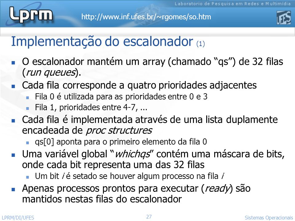 Implementação do escalonador (1)