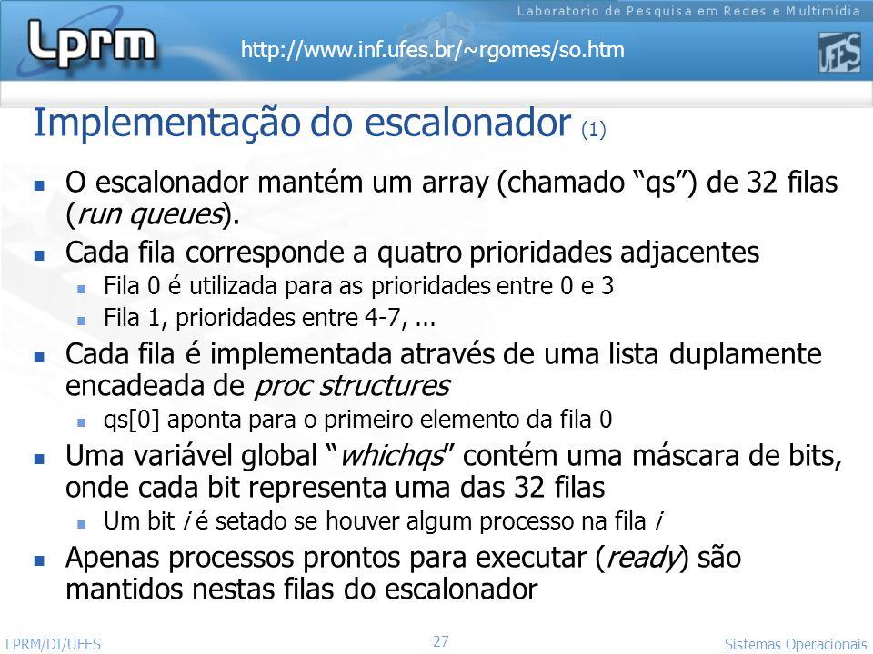 Implementação do escalonador (1)
