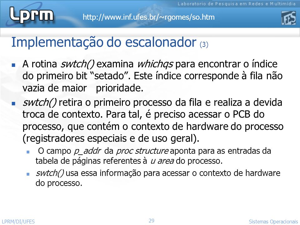 Implementação do escalonador (3)