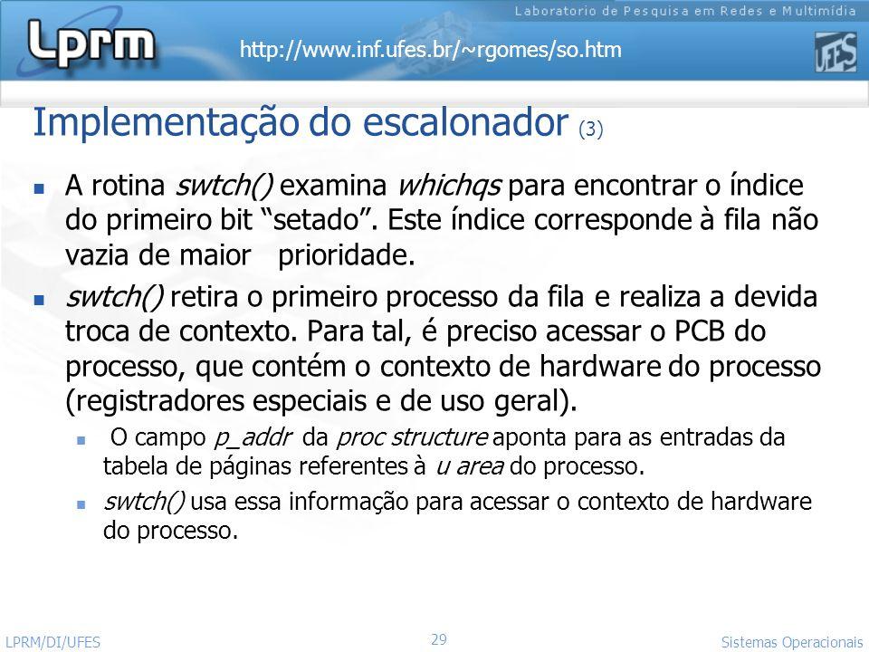Implementação do escalonador (3)
