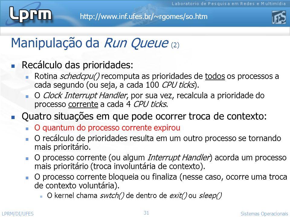 Manipulação da Run Queue (2)