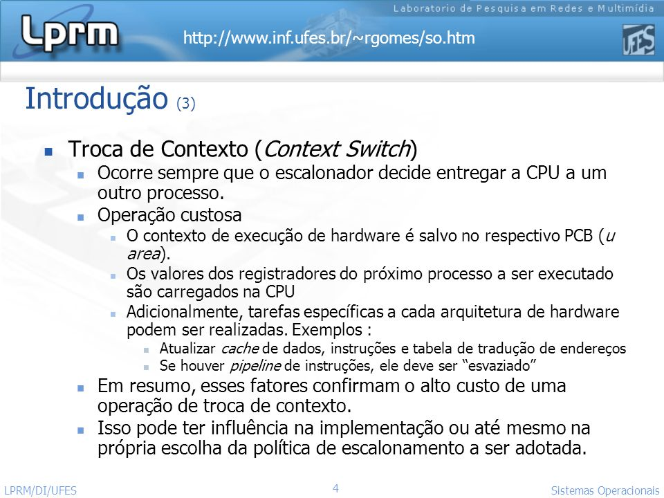 Introdução (3) Troca de Contexto (Context Switch)
