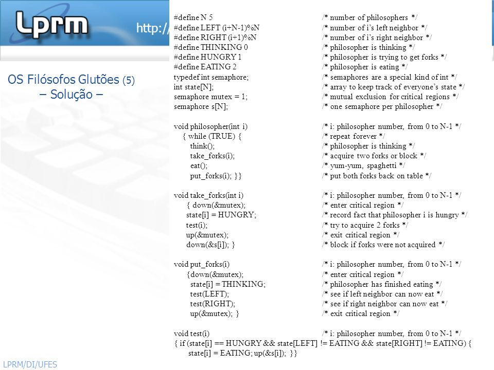 OS Filósofos Glutões (5) – Solução –