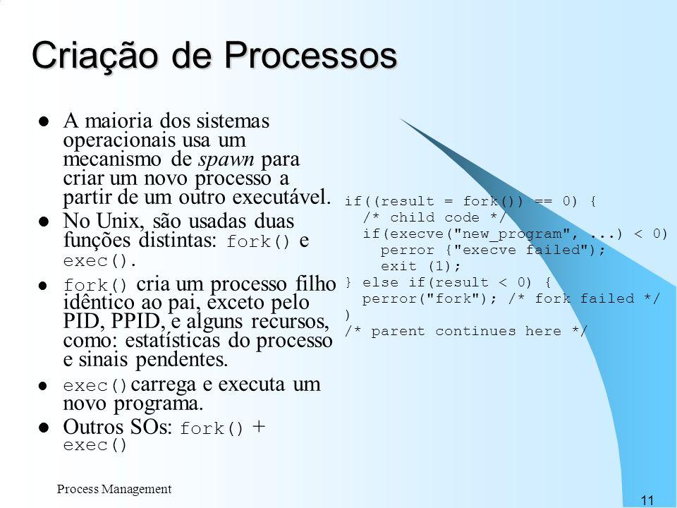 Criação de Processos A maioria dos sistemas operacionais usa um mecanismo de spawn para criar um novo processo a partir de um outro executável.