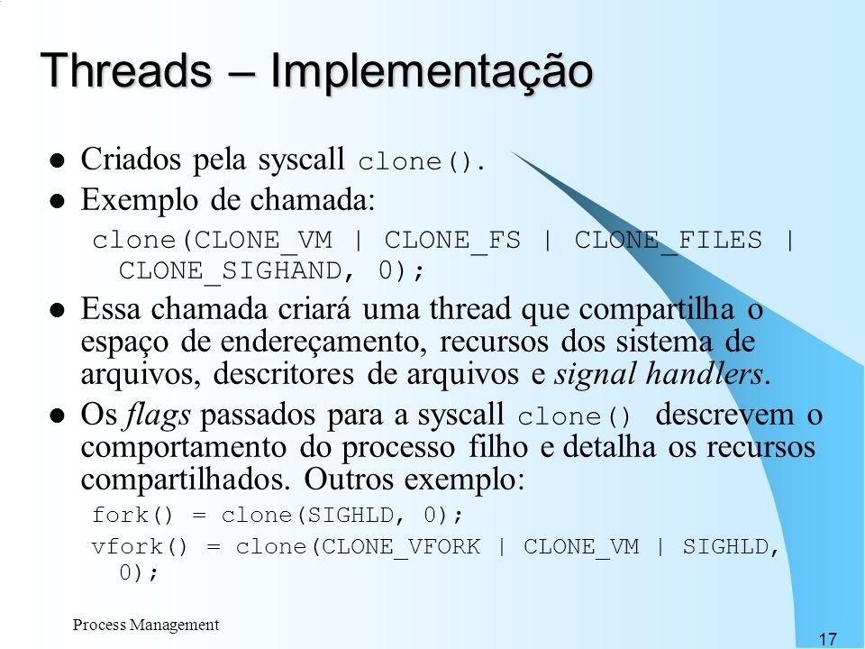 Threads – Implementação